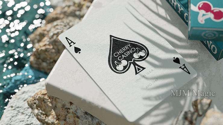 Cherry Casino (Tropicana Teal) Playing Cards by Pure Imagination Projects - Click Image to Close