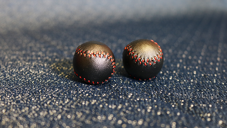 Chop Cup Balls Black Leather (Set of 2) by Leo Smetsers - Trick - Click Image to Close
