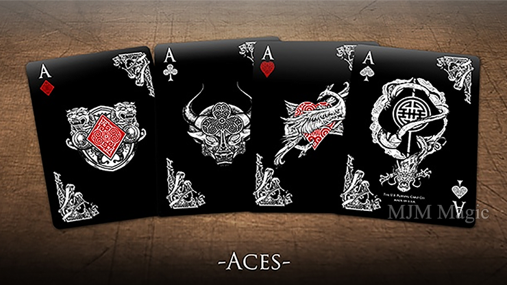 Bicycle Middle Kingdom (Black) Playing Cards Printed by US Playing Card Co - Click Image to Close