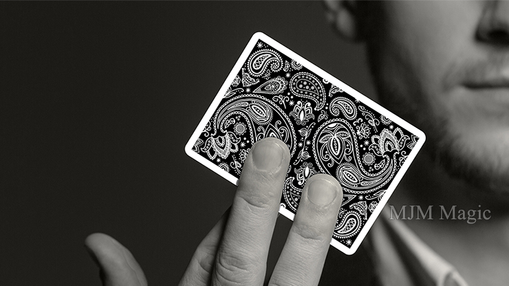 Paisley Playing Cards Workers Deck Black - Click Image to Close