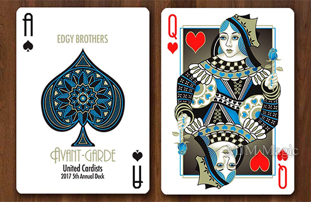 Avant-Garde United Cardists 2017 Playing Cards by Edgy Brothers (Blue) - Trick - Click Image to Close