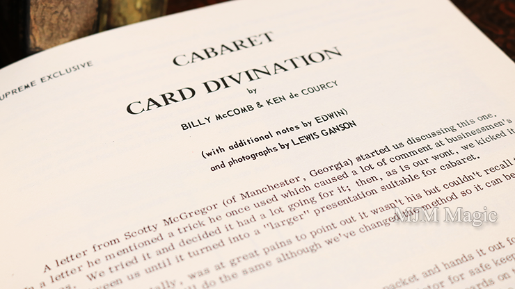 Cabaret Card Divination by Billy McComb and Ken de Courcy - Book - Click Image to Close