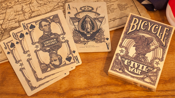 Bicycle civil war confederate union red blue playing cards deck magic tricks